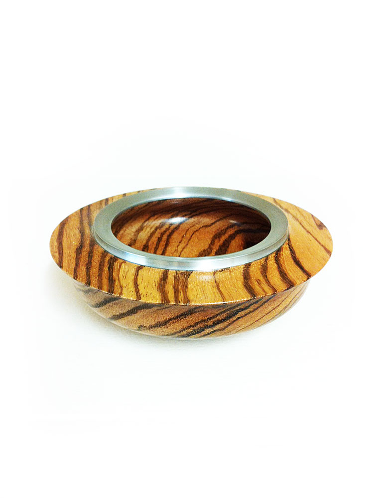 Zebrano-Bowl-wide-rim-with-pewter-rim